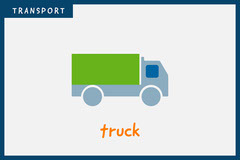 Grey Truck Transport Vehicle Flashcard  Kids