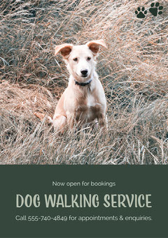 Green Dog Walking Service Ad Flyer with Dog Photo Dog Flyer