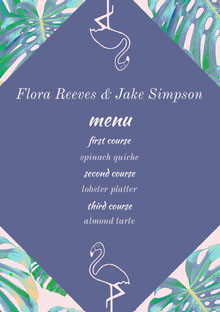 Violet and Green Wedding Menu Menú de bodas