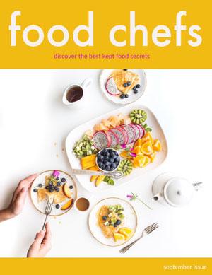 Yellow and White Food Chefs Magazine Cover Portada de revista