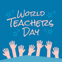 Blue & Pink Raised Hands World Teachers Day Instagram Square  Stars