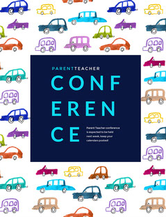 Colorful, Car Pattern Parent Teacher Conference Flyer Conference Flyer