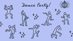 Purple Illustrated Stick Figure Dance Party Zoom Background Dance Flyers