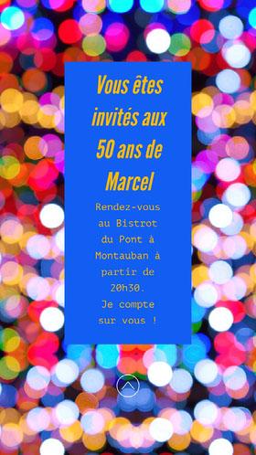 Glitter Lights Marcels 50th Birthday Invite Instagram Story  Invitation d'anniversaire