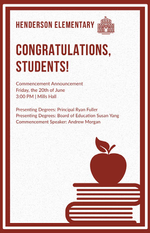 Red Illustrated Elementary School Graduation Poster Graduation Poster