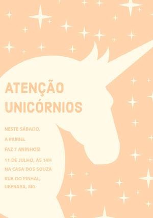 yellow stars and orange unicorn birthday cards  Convite de aniversário de unicórnio