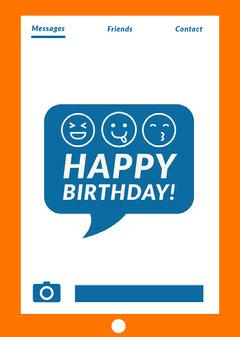 Orange and Blue Emoji Happy Birthday Card Birthday