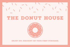 Pink Illustrated Donut Bakery Discount Coupon  Discount