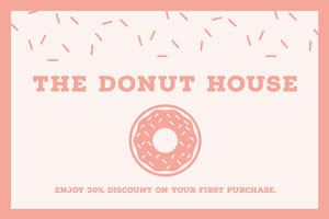 Pink Illustrated Donut Bakery Discount Coupon  Coupon