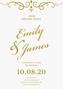 gold and white wedding cards  Biglietti di ringraziamento per il matrimonio