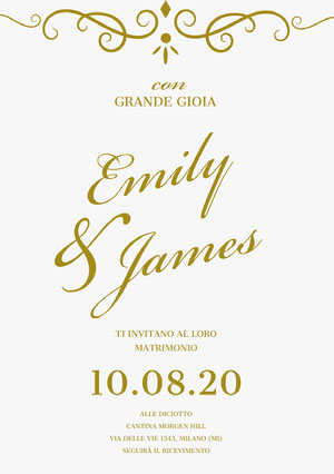 gold and white wedding cards  Biglietto elettronico