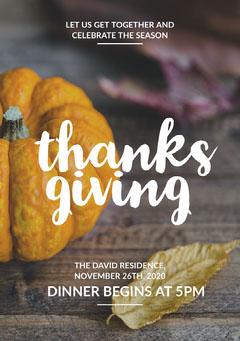 Light Toned Thanksgiving Dinner Invitation Card Thanksgiving Flyer