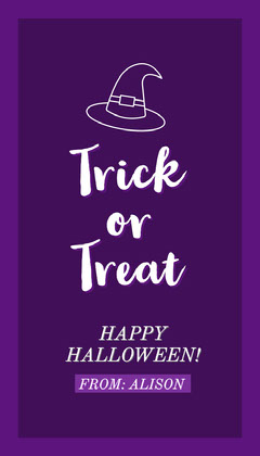 Violet and White Halloween Trick Or Treat Party Gift Tag Halloween Gift Tag