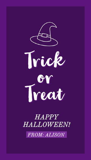 Violet and White Halloween Trick Or Treat Party Gift Tag Halloween Party