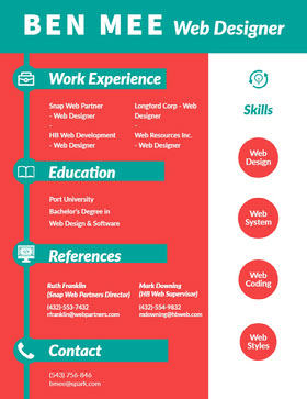 Blue and Red Web Designer Resume Currículo profissional