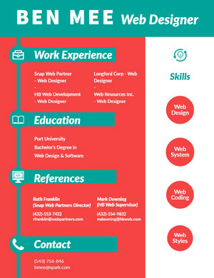 Blue and Red Web Designer Resume Currículum vitae