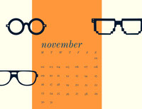 White and Orange Calendar Card Calendar