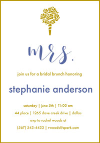 Gold and Blue Elegant Bridal Shower Invitation Card with Bouquet Invitation fête de la mariée