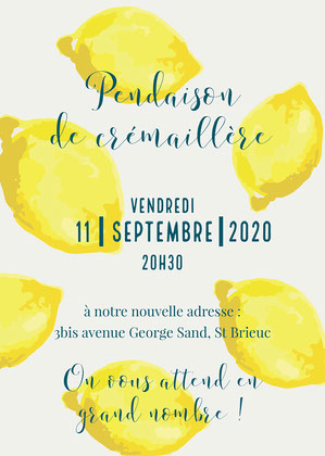 Yellow Lemons Housewarming Party Invitation Card   Invitation à une fête