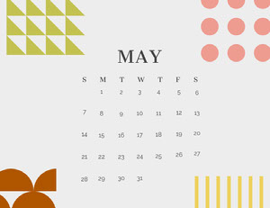 Multicolored Geometric Shape May Calendar 달력