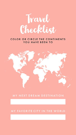 Pink and White Travel Checklist Instagram Story Checklist Maker