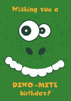 Dino mite birthday dinosaur card Kids