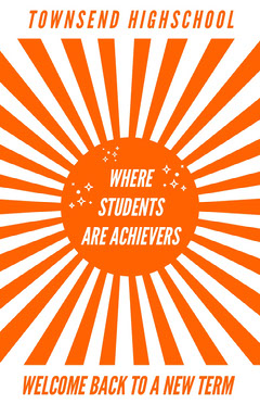 Orange and White Townsend Highschool Poster Welcome Poster