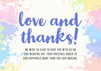 Paint Splash Lgbt Wedding Thank You Card  Thank You Messages