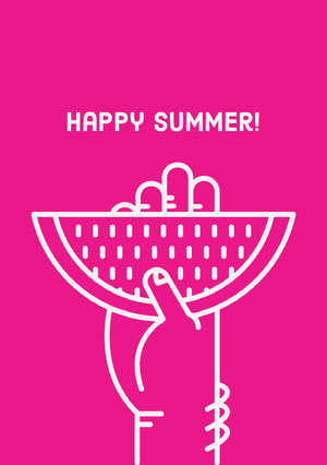 White and Pink Happy Summer Card Card