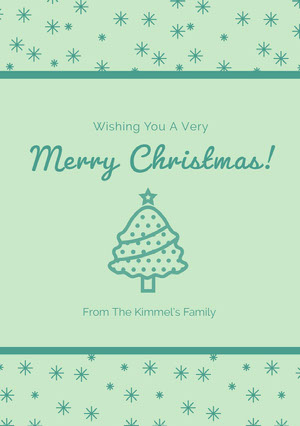 Green Merry Christmas Card Christmas Card