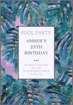 Birthday Pool Party Invitation Card with Palm Leaves Christmas Invitation