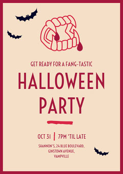 Fang Tastic Halloween Invite  Halloween Party Invitation