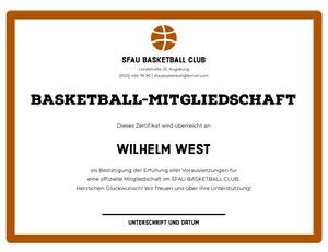 BASKETBALL-MITGLIEDSCHAFT  Zertifikat