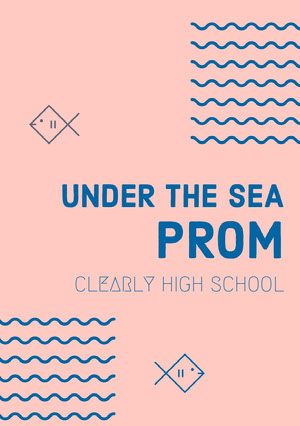 Blue and Pink Prom Night Poster Prom Posters