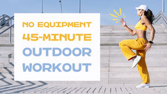 Yellow, Gray and Blue Outdoor Workout Youtube Thumbnail with Photo of Woman Exercising Healthy