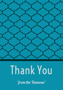 Blue Thank You Wedding Card with Pattern Cartão Obrigado pela presença