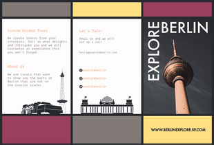 Purple, Grey and Yellow, Berlin Explore Travel Brochure Pamphlet