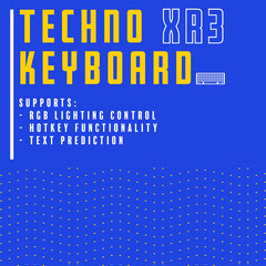 Blue & Yellow Keyboard Packaging Square Tech