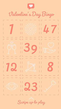 Orange Illustrated Valentine's Day Bingo Card Valentine's Day