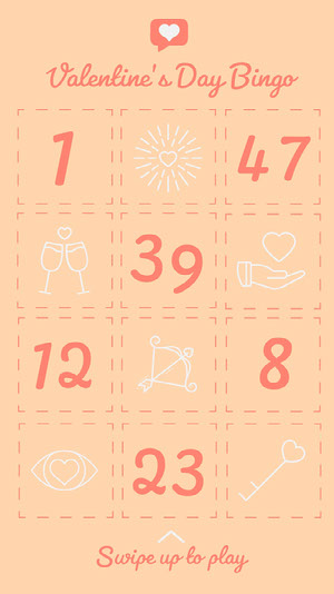 Orange Illustrated Valentine's Day Bingo Card ビンゴカード
