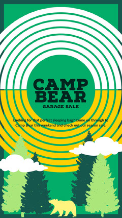 Green, White and Yellow Garage Sale Ad Instagram Story Garage Sale Flyer