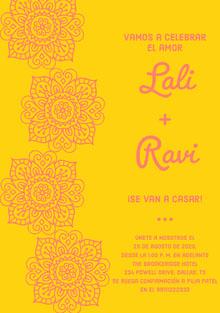 yellow and pink floral wedding cards  Tarjetas de agradecimiento de boda