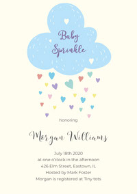 Blue and White Baby Sprinkle Invitation Baby Shower Invitation