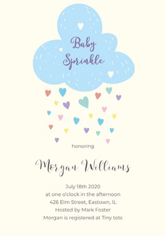 Blue and White Baby Sprinkle Invitation Baby's First Year