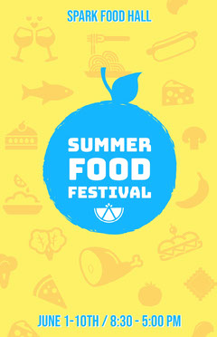 Yellow and Blue Illustrated Summer Food Festival Flyer Summer
