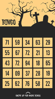 Yellow and Black Spooky Graveyard and Trees Halloween Party Bingo Card Festa di Halloween