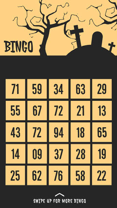Yellow and Black Spooky Graveyard and Trees Halloween Party Bingo Card Halloween Party Bingo Card