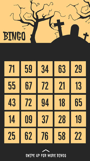 Witch Graveyard Halloween Party Bingo Card Bingokort