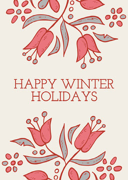 Red Flowers Happ Winter Holidays Card Portrait