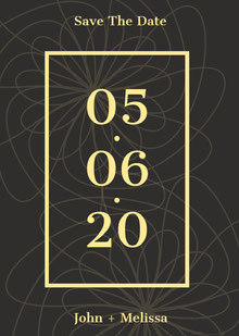 Black and Yellow Save The Date Card Partecipazioni di matrimonio